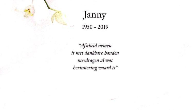 rouwkaart Janny Grootenboer-Melaard